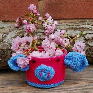 Glass Jar Vase Cosy plant pot cover Hand wash cosy - bright coloured pink pig