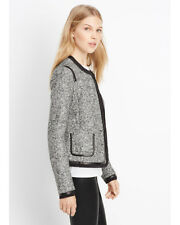 $495 VINCE Grey Boucle Black Leather Trim Jacket Coat - Size 8 (M Medium)