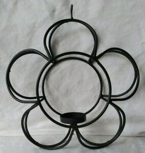 Vintage Black Metal Wire Flower Candle Holder Lantern Tealight Only Primitive