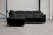 SILO 5 Seater Pocket Sprung LHF Black Leather Corner Sofa BRAND NEW BOXED