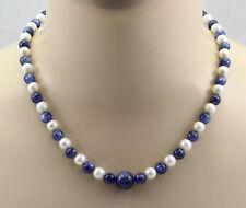Perlenkette - weiße Süßwasser-Perlen mit Kyanit in 48,5 cm Länge