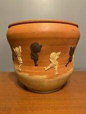 "Vtg Japanese Antique Redware Planter Jardiniere 10"" Dancers Or Acrobats Design"
