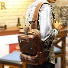 Men Brown PU Leather Messenger Shoulder Bag Travel Vintage Chest Sling Back pack