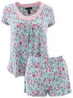 Rene Rofe Women's Floral Blue Pink Short Pajamas