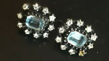 Ohrringe Antik 930 Silber blaue &weisse Steine. 1 Stein fehlt