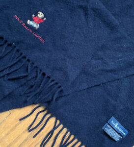 POLO RALPH LAUREN 100% Scotland Lambs Wool Scarf VTG. Navy Embroidered Bear Dog