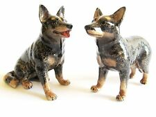 Australian Cattle Dog Miniature Porcelain Figurine Hand Painted - Set/2