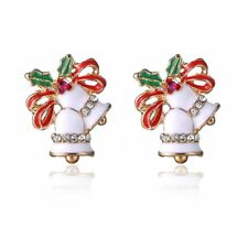 Stud Earrings Christmas Party Women Jewelry White Bell Gold Crystal Pierced Ear