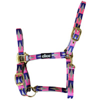 Elico Nylon Headcollar | BRASS FITTINGS | Pony Cob Full Pink Purple Grey