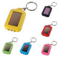 Mini Solar Power Panel 3 LED Flashlight light Keychain Keyring Torch  D0d RU
