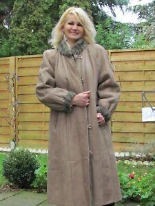 WOMENS L -XL Shearling Lambskin Sheepskin Fur Coat Jacket Ladies RR4102