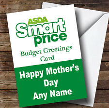 Funny Joke Asda Smart Price Spoof Personalised Mother's Day Greetings Card