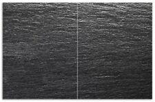 Wallario Herdabdeckplatte 3-teilig aus Glas 90x52cm Aluminium-Optik