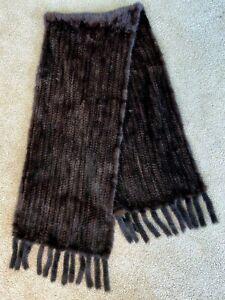 "NWOT DENA Dark Brown Natural Mink Wrap Scarf From Denmark 14"" Wide!"