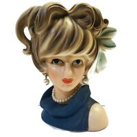 "Rare Vintage Relpo Teen Lady Head Vase K1695 7"" Big Blue Bow Earrings Necklace"