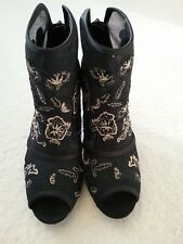 NEXT WOMEN'S BLACK WITH GOLD STITCH PATTERN PEEP TOE ANKLE BOOTS SIZE UK 4