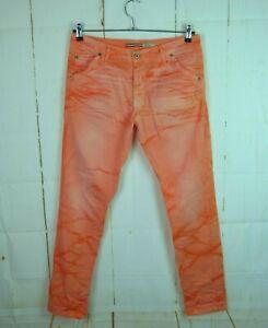 Please Jeans P85 Damen Hose Boyfriend Skinny Stretch Rot Koralle Lachs Gr. L