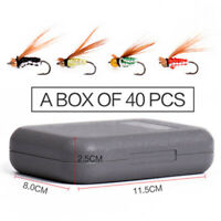 40 Piece Flies Beaded Fly Fishing Dry Trout Lures Flies Collection + Free Box