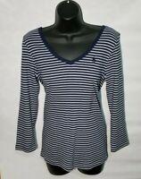 Ralph Lauren Sport Pima Cotton Women's L Navy Blue and White Stripe Knit Top NWT