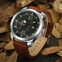 NAVIFORCE Military Men Sport Leather Date Analog Quartz Wrist Watch Waterproof