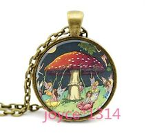 Rotate mushroom And fairy Cabochon Bronze Glass Chain Pendant Necklace #1197