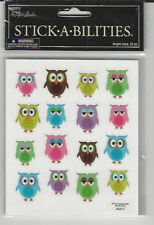 "Stick abilities BRIGHT OWLS flat Stickers birds 4X5"" (2 sheets)"