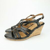 Sofft Womens Wedge Cork Black Leather Strappy Comfort Sandals Size 10 M