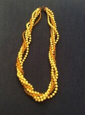 Vintage Estate Jewelry 24In Twisted Strand Of Yellow Beads