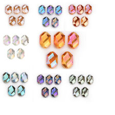 Hot 5PCS 18mm Oval Hexagon Glass Crystal Spacer Loose Beads DIY Jewelry Bracelet