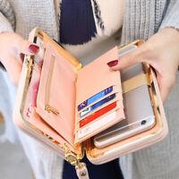 2019 Women Lady PU Leather Clutch Wallet Long Card Holder Purse Box Handbag Bag
