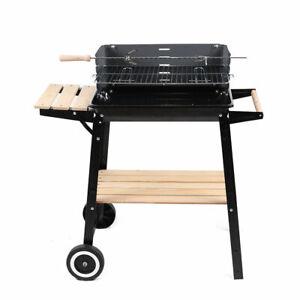 Rectangular BBQ Wheels Patio Barbecue Steel Charcoal Grill Outdoor Garden