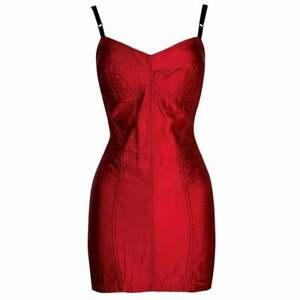 Vintage F/W 1991 Dolce & Gabbana Runway Red Satin Bustier Micro Mini Dress