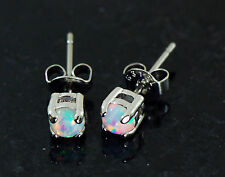 Pair 316L Surgical Steel 5mm Ball Round White Fire Opal Ear Stud Earrings 20g
