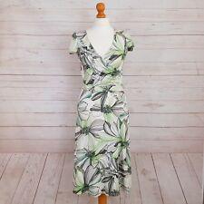 Wallis Womens Green White Black Floral Print Wrap Style Dress With Tie UK 10