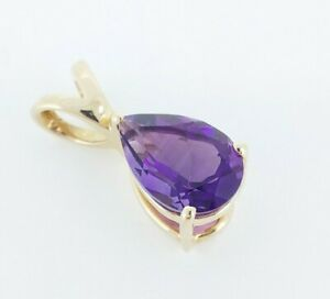 Beautiful 9K 9ct Yellow Gold & Natural 1.77ct Amethyst Drop Pendant Necklace