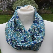 Snood/cowl Scarf in vintage Liberty Silk 'Poppy & Daisy' blue, green, ivory