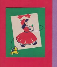 1117A  VTG MADEMOISELLE GIBSON XMAS CARD GIRL RED COAT HAT MUFF WALKS HER DOG