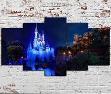 Framed Disney World Cinderella Castle 5 Piece Canvas Print Wall Art Home Decor