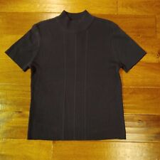 NWT REQUIREMENTS Womens Short Sleeve Mock Neck Pullover Sweater Top Sz L