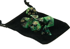 New Chessex Polyhedral Dice Set with Bag Black Green Gemini 7 Piece Set DnD RPG