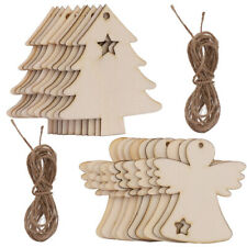 10-30Pc MDF Wooden Christmas Tree Shape Xmas Hanging Decor Blanks Craft Gift Lot