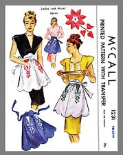 Vintage McCall Ladies Misses' Apron Fabric Material Sewing Pattern  #1231