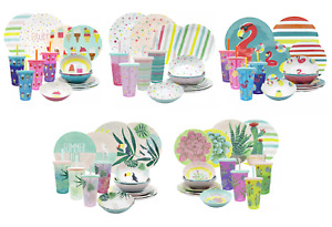 Zak Designs 16-Piece Color-Changing Tumbler Melamine Plate Bowl Dinnerware Set