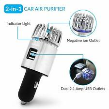 QFL Car Ionizer Air Purifier, Negative Ion Generator with Dual USB Port