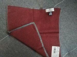 New Luxury Canali men 100% silk geometric print  pocket square Italy burgundy