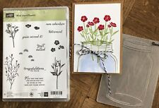 Stampin Up, retired, WILD ABOUT FLOWERS stamps & MASON JAR Embossing folder