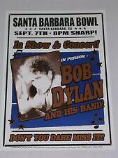 BOB DYLAN & his Band at the SANTA BARBARA BOWL CALIFORNIA CONCERT POSTER