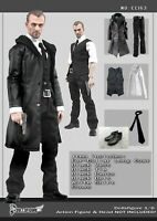 "CC163 1/6 Scale Clothing- Male Black Leather Men Suit Full set for 12"" Figure"