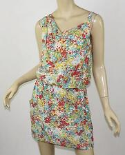 BRITT RYAN Printed Silk Asymmetric Cowl Neck Sleeveless Blouson Mini Dress S 4