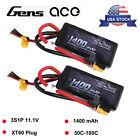 2X Gens Ace 50C 1400mAh 11.1V 3S Lipo Battery XT60 For Traxxas Slash VXL RC Car